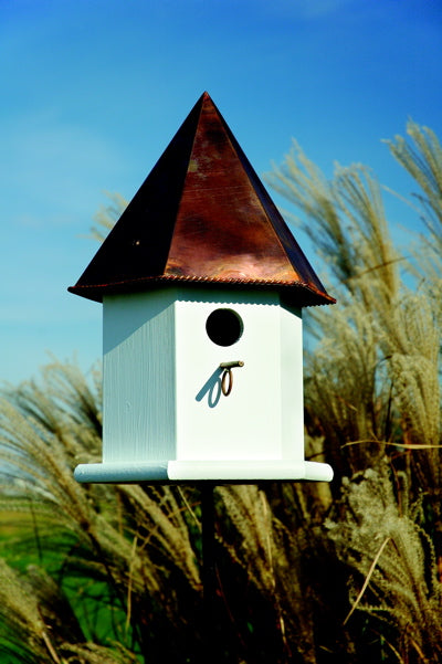 143B Copper Songbird Deluxe Bird House - White - Brown Copper Roof