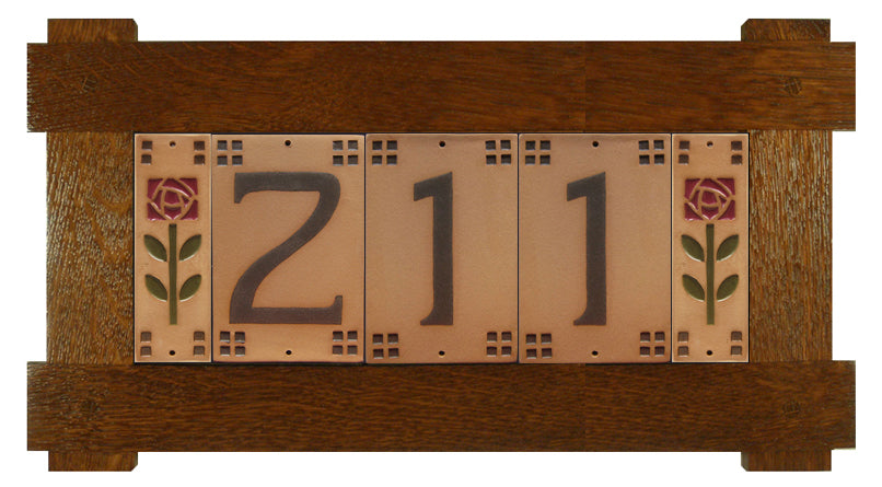 QS Oak House Number Tile Frame - 3 Numbers