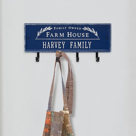 3687DW Farm House Beaded Rectangle Personalized Hook Plaque