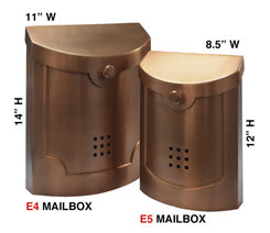 E5AC Transitional Style Mailbox - Antique Copper