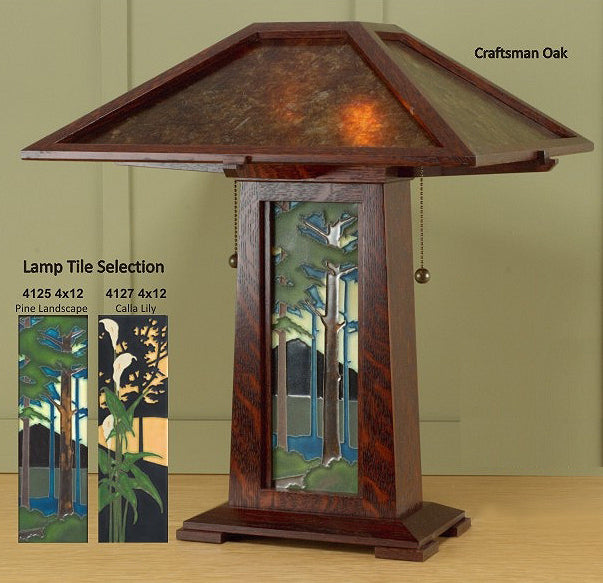 TLMP Arts and Crafts Style Table Lamp with Tile