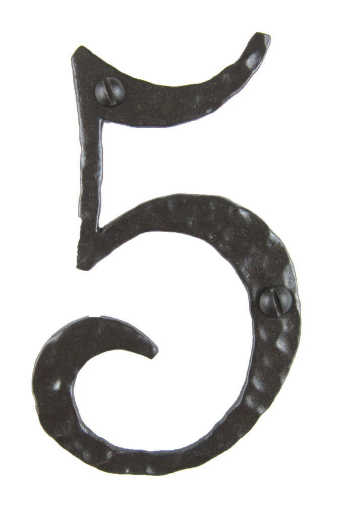 Hammered Wrought Iron House Number 5 - 4 Inch High
