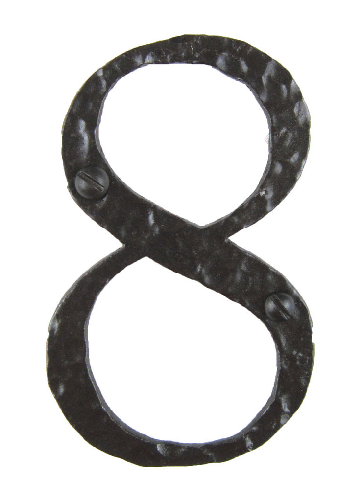 Hammered Wrought Iron House Number 8 - 4 Inch High