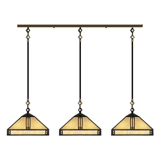 12'' prairie 3 light in-line chandelier