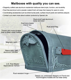 SCB-2005 Hummingbird Curbside Mailbox with Newspaper Tube