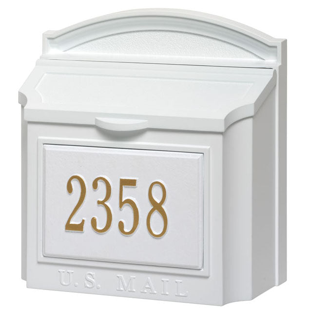 Whitehall Wall Locking Mailbox-White with Numbers