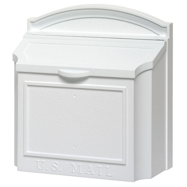 Whitehall Wall Locking Mailbox-White-No Numbers