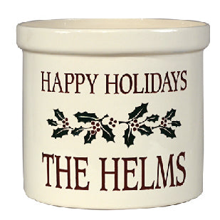 Whitehall 2554MC Holiday Holly Ceramic Crock