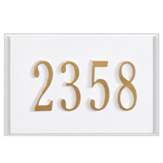 Mailbox-Plaque Only-White-Gold