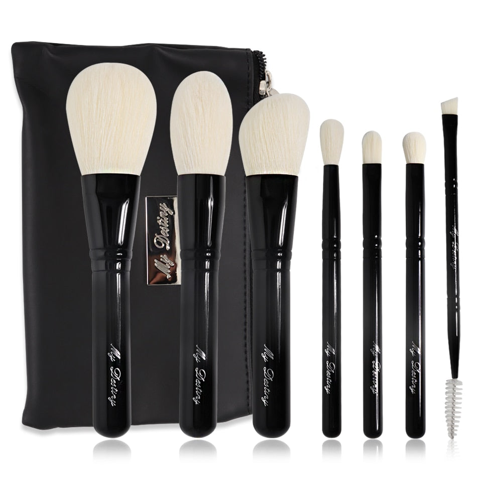 My Destiny 7Pcs Makeup Brushes Set with Pouch Professional Black Wood Make up Brush Kit pincel maquiagem Case