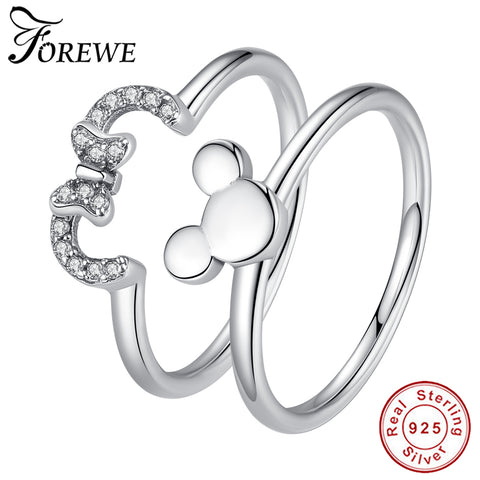 FOREWE 100% 925 Sterling Silver Ring Minnie Finger Ring for Women Sterling Silver Jewelry Gift Female Wedding CZ Ring