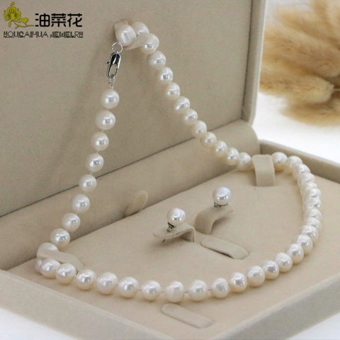 "Beautiful 8-9mm White Akoya Pearl Necklace Earring 17.5"" Wedding Jewelry Sets for Women In Jewelry Sets Gift Wholesale"