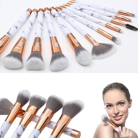 BBL 11pcs Luxe Elegant Marble Handle Makeup Brushes Set + Cosmetic Case Foundation Blending Brush Beauty Essential Maquiagem