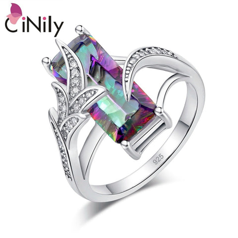 CiNily Rainbow Lavish Large Cut Rings With Square Mystic Stone Silver Plated Bohemian Boho Vintage Cocktail Jewelry Gifts Woman