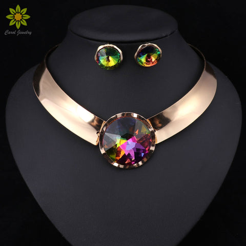 6Color Women Jewelry Sets Trendy Necklace Earrings Statement Necklace For Party Wedding Fashion 2020 Direct Selling
