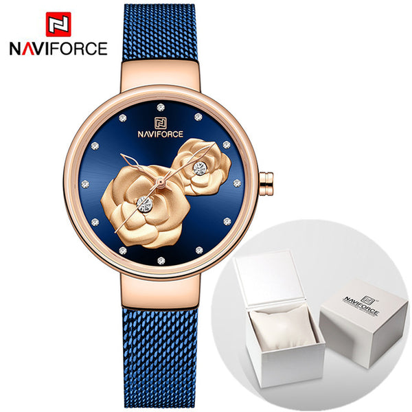 Luxury Brand NAVIFORCE Ladies Watches Fashion Creative 3D Rose wristwatch Gift For Women Girl Casual Clock Relogio Feminino 2019