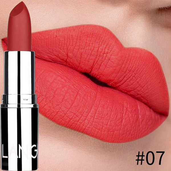 Langmanni 8 Colors Matte Bullet Lipstick Waterproof Long-Lasting Velvet Lipstick Easy To Wear 2019 Nude batom Nutritious Makeup