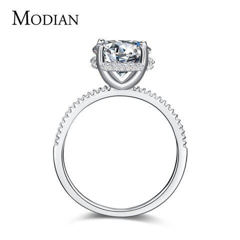 Modian New Design Fashion Charm Sparkling Ten Hearts Clear Zircon Finger Classic CZ Ring For Women Wedding Engagement Jewelry