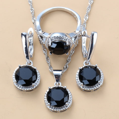 925 Mark Silver Color Jewelry Sets Round Black Zircon Dangle Earrings and Necklace Ring Sets For Women Trendy Costume