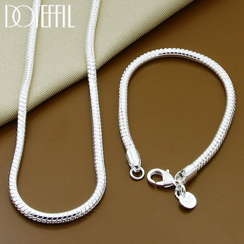 925 Sterling Silver Color Solid Snake Chain Bracelet Necklace For Women Men Brand Sets Fashion Charm Jewelry