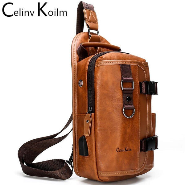 Celinv Koilm New Multifunction Crossbody Sling Bag for Men Anti-theft Leather Shoulder Bags For iPad Women Trip Chest Bag Pack