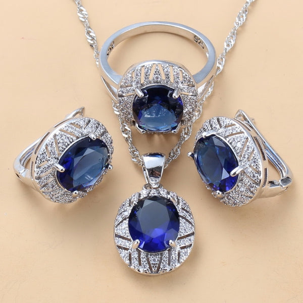 Bridal Costume 925-Stamp Big Jewelry Sets Silver Color With Natural CZ BlueDangle Clip Earrings And Ring Sets For Women Gift