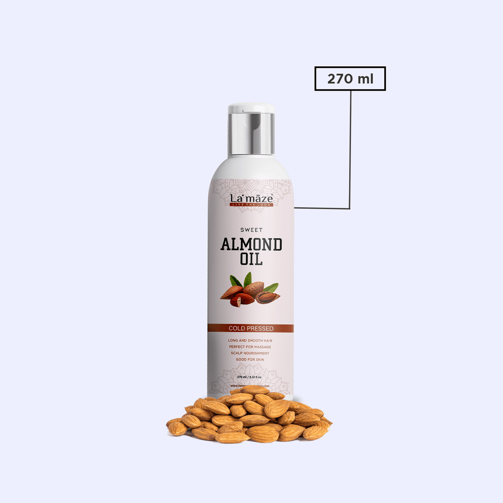 Pure Almond Hair Oil Cold Pressed For Scalp Nourishment & Healthy Hair - 270ml