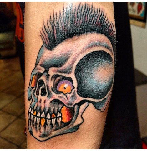 Skull, tattoo, tradizionale, punk, adamantino, Filippo Garilli, Old school tattoo,