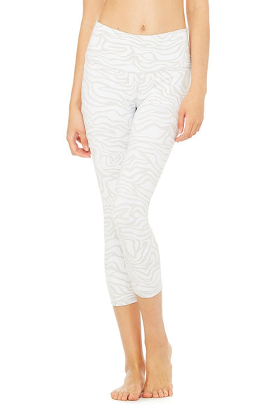 ALO High-Waist White Zebra Print