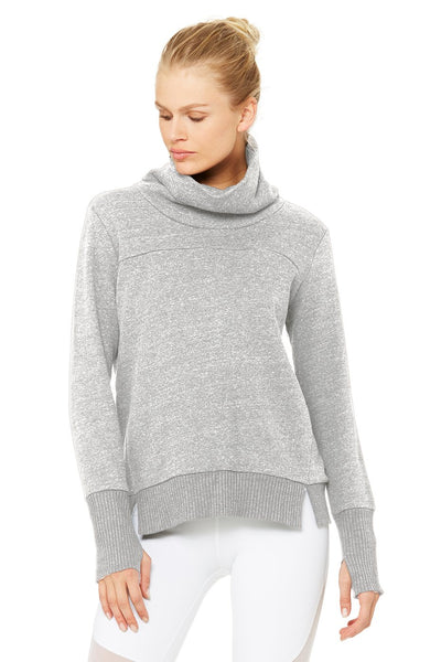ALO Haze Long Sleeve Top with Soft Fleece Lining Grey