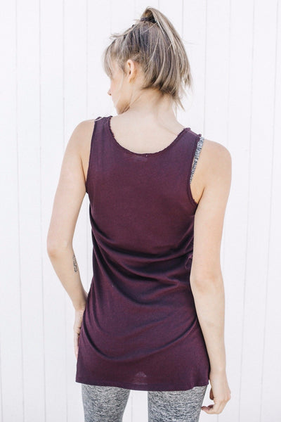 Long Tank Top in Wine Color
