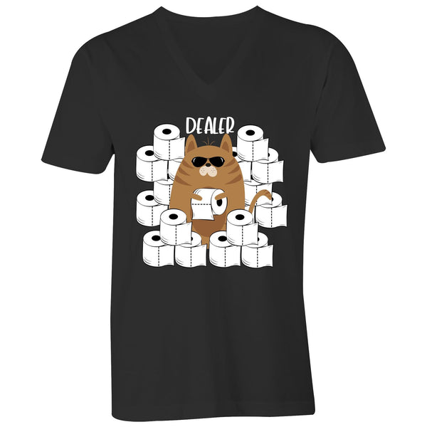 Mens V-Neck Tee  - Cat Toilet Paper Dealer