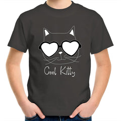 (Girls) Kids Youth Crew T-Shirt - Cool Kitty
