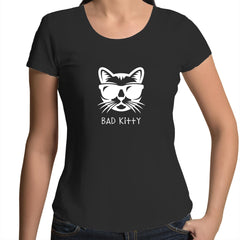 Womens Scoop Neck T-Shirt - Bad Kitty