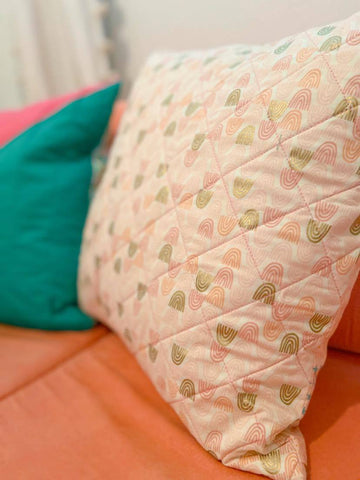 Pink Rainbow Quilted Pillow Cover