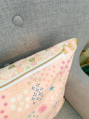 Exposed Brass Zipper on Quilted Pillow Cover