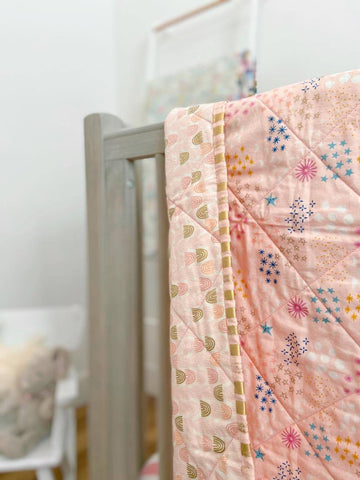 Pink Rainbow Quilt with Stars