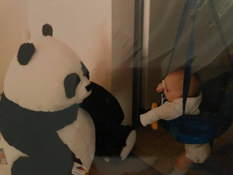 Stuffed Panda Toy and Bouncing Baby