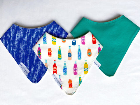 baby bibs with colas and blues
