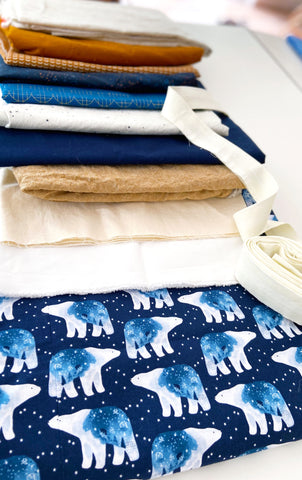 blue, neutral, polar bear quilt fabric