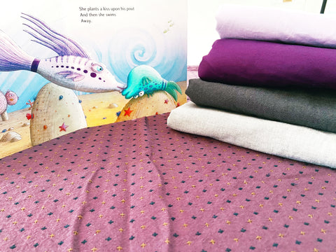 purple pout pout fish fabric