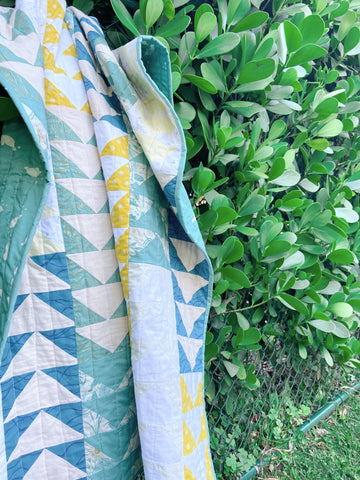 baby quilt hanging in front of plants