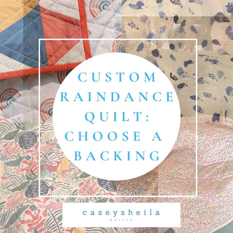 image telling the viewer to choose a fabric for the back of their custom quilt