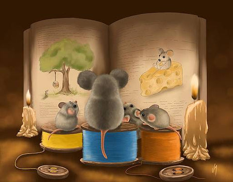 mice family reading a bedtime story