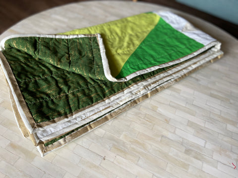 gold and white binding on wild things quilt
