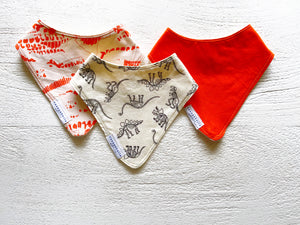 Orange Dino Babies Bib Set