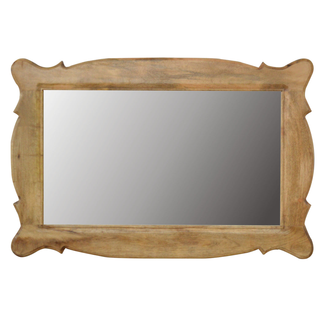 Wooden Hand Carved Oblong Frame with Mirror