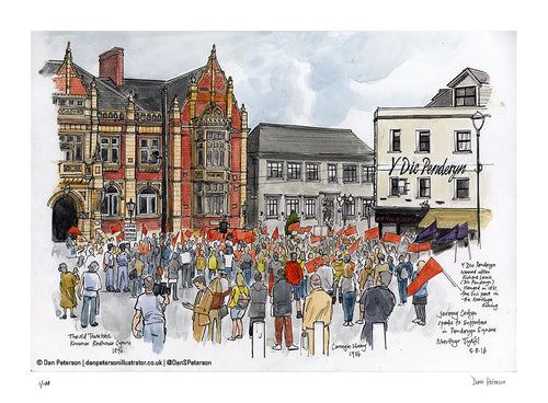 Jeremy Corbyn speaking at Merthyr Tydfil - Signed Limited Edition - 46 x 34cm