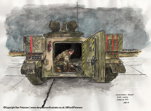 The Royal Welsh live firing at Castle Martin Ranges - Back of a Warrior AFV - 46 x 34cm
