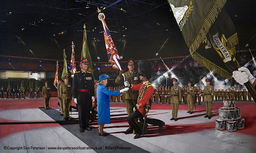 Presentation of Colours by Her Majesty Queen Elizabeth II to The Royal Welsh 2015 - 108x64cm